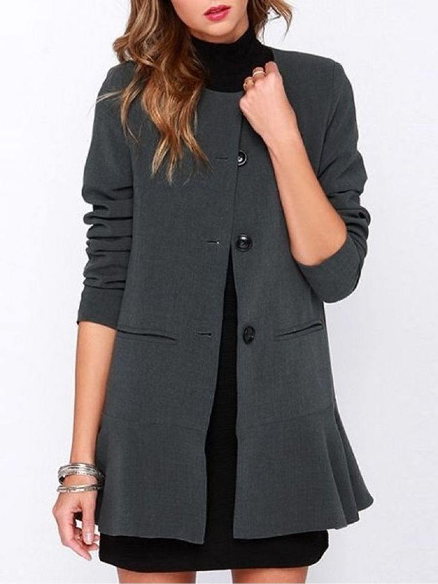 Concise Collarless Trench Coats