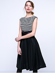 Patchwork Striped Exquisite Skater Dress