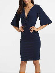 Mandarin Sleeve V Neck Cotton Plain Bodycon Dress