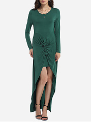 Asymmetrical Hems Round Neck Dacron Plain Maxi-dress