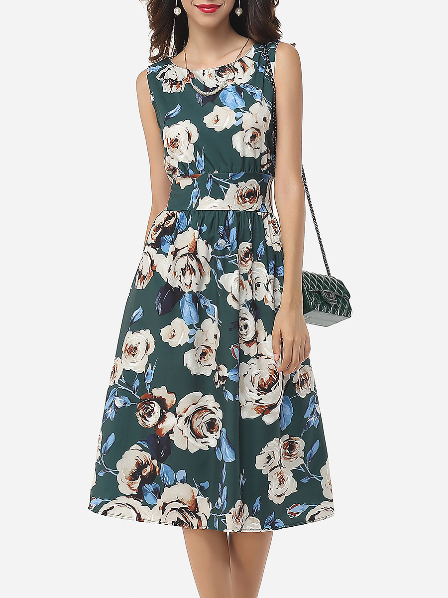 Assorted Colors Floral Printed Zips Elegant Vintage Round Neck Skater-dress