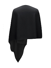 Designed V-Neck  Asymmetric Hem  Plain Cape
