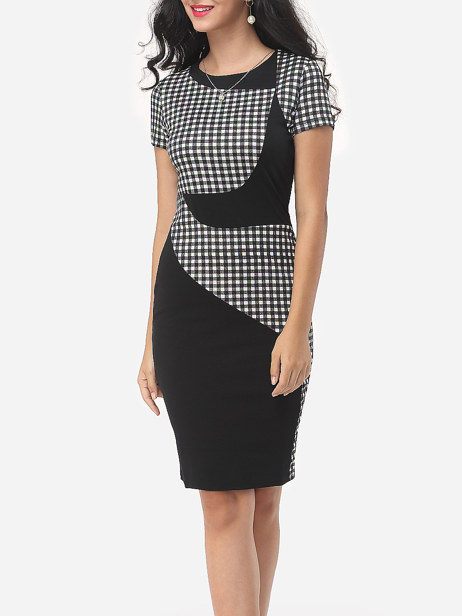 Office Plaid Round Neck Slit Bodycon Dress