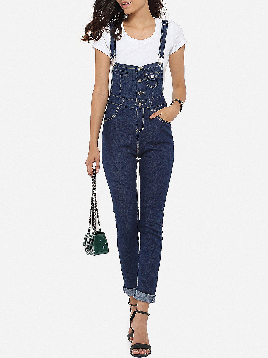 Single Breasted Slit Pocket Plain Slim-leg Overalls