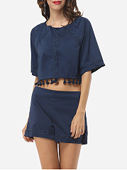 Charming Round Neck Dacron Tassel Plain Crop Top And Shorts