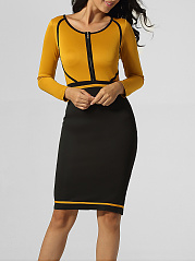 Round Neck Zips Contrast Trim Patchwork Split Bodycon Dress