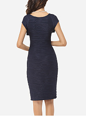 Plain Embossed Design Awesome Scoop Neck Bodycon-dress
