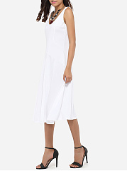 Scoop Neck Dacron Plain Skater-dress