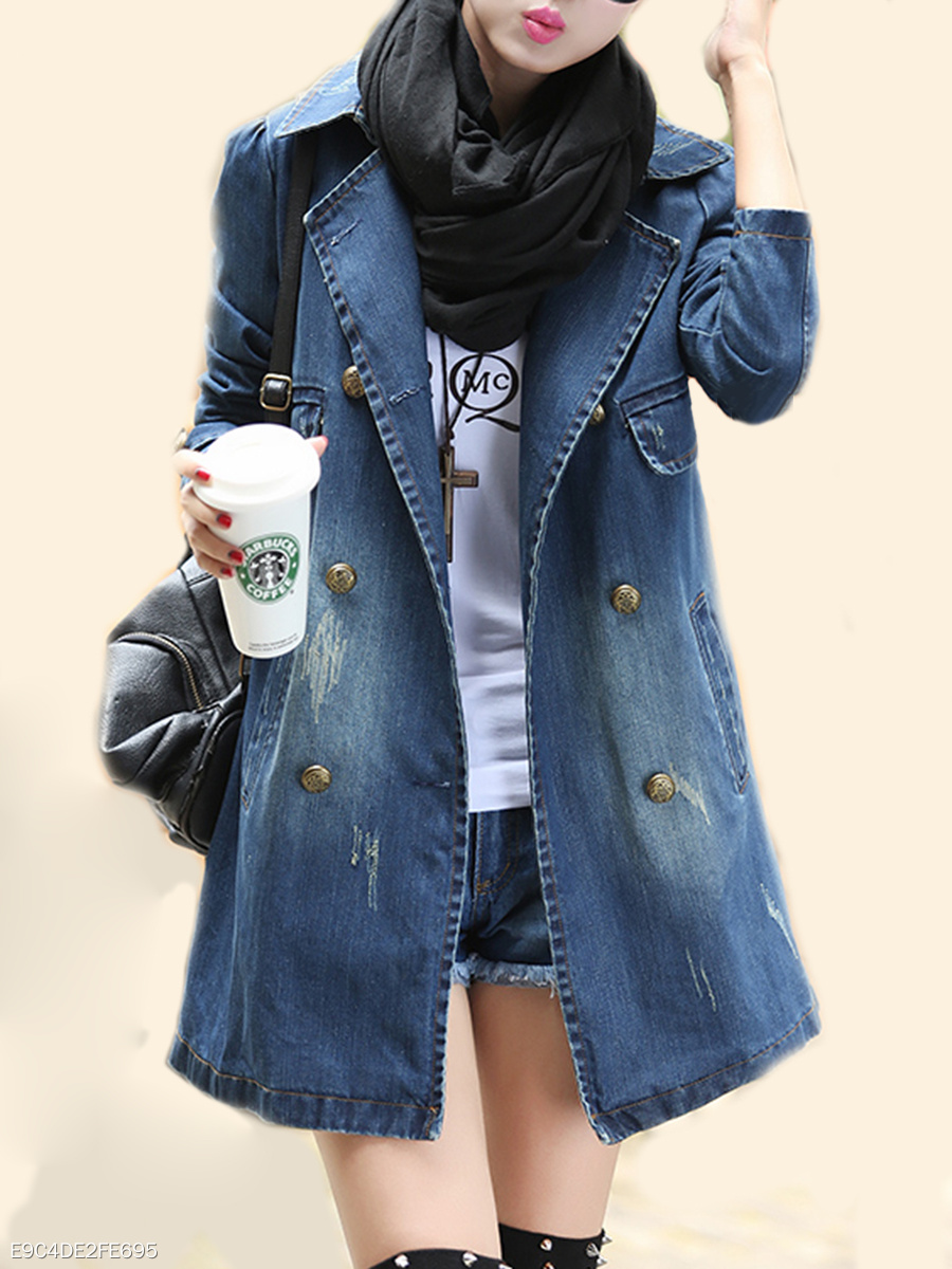 Denim Plain Breasted Fabulous Lapel Trench Coats
