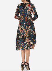 Assorted Colors Printed Chic Round Neck Shift Dress