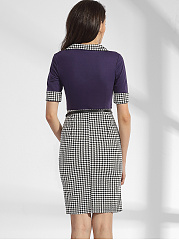Square Neck Dacron Houndstooth Patchwork Bodycon-dress