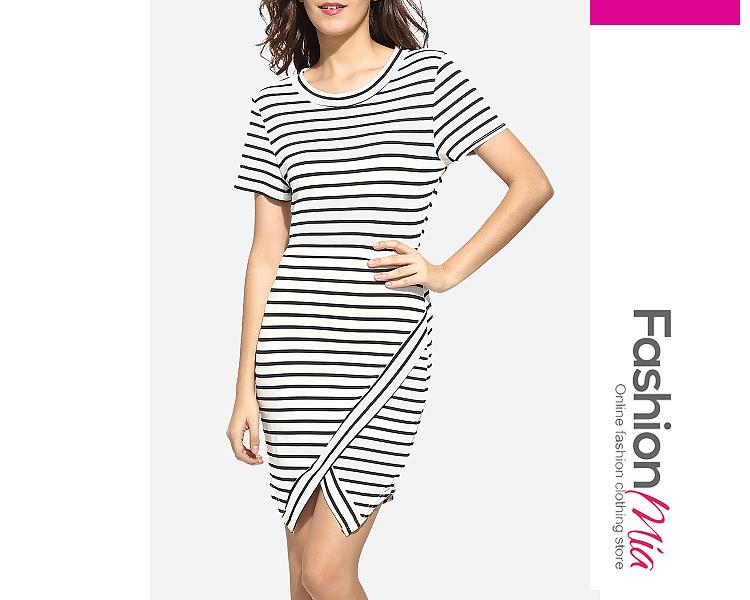 Zips Asymmetrical Hems Round Neck Dacron Striped Bodycon-dress