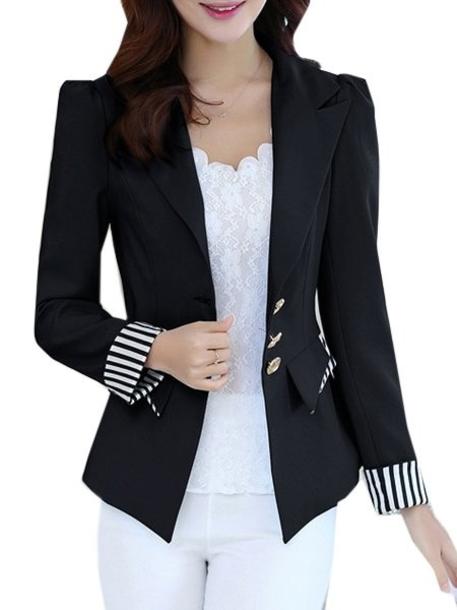 Patchwork Striped V Neck Blazers