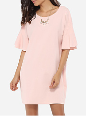 Falbala Loose Fitting Mandarin Sleeve Round Neck Dacron Plain Shift-dress