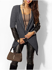 Patchwork Plain Delicate Collarless Cardigan
