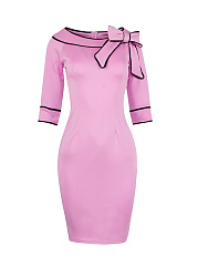Round Neck  Bowknot Contrast Trim Bodycon Dresses