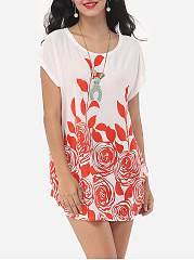 Summer  Polyester  Women  Round Neck  Floral Printed Short Sleeve T-Shirts