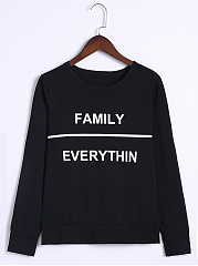 Round Neck Letters Long Sleeve T-shirt