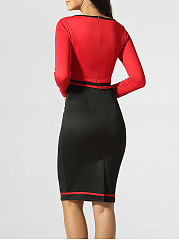 Round Color Block Zips Split Bodycon Dress