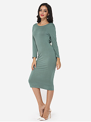 Hollow Out Plain Captivating Round Neck Bodycon-dress