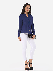 Plain Loose Fitting Elegant V Neck Blouse