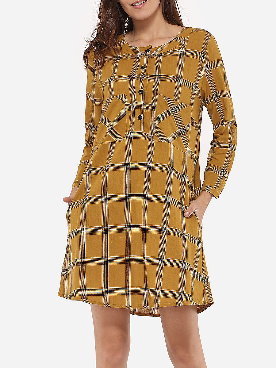 Loose Fitting Pockets Round Neck Dacron Plaid Shift-dress
