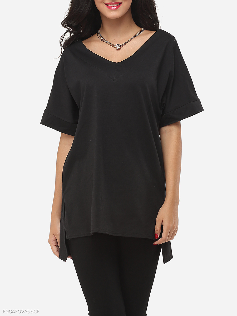 Plain Loose Fitting Trendy V Neck Short-sleeve-t-shirt