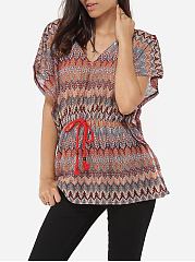 Loose Fitting V Neck Dacron Assorted Colors Printed Short Sleeve T-shirt