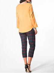 Round Neck Dip Hem Plain Tee With Scarf And Pocket Plaid Slim-Leg Pants