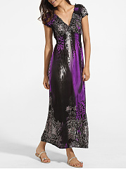 Falbala V Neck Dacron Leopard Printed Maxi-Dress