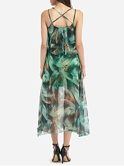 Spaghetti Strap Chiffon Printed Maxi Dress