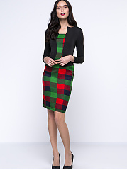 Office Fake Two-Piece Plaid Bodycon Dress