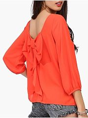 Plain Bowknot Brilliant Crew Neck Blouses