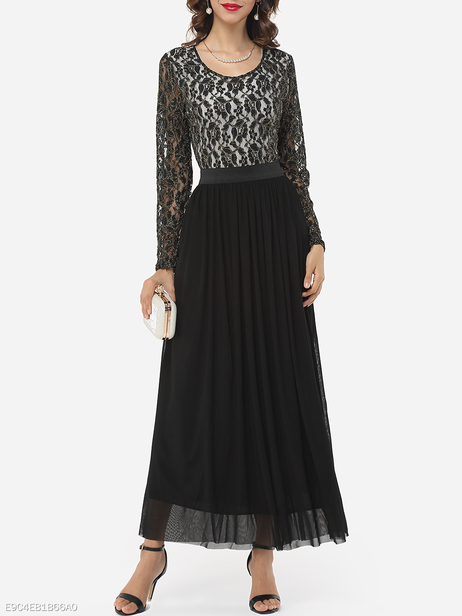 Hollow Out Lace Patchwork Graceful Round Neck Maxi-dress