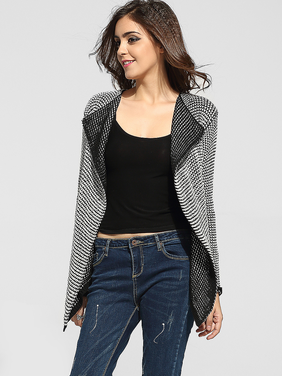 Lapel Worsted Striped Cardigan