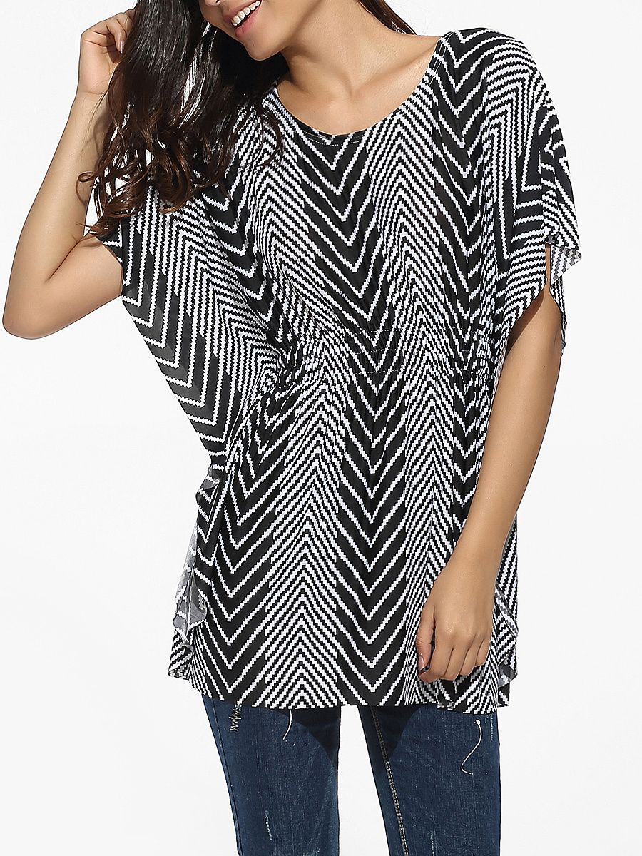 Round Neck Dacron Zigzag Striped Blouse