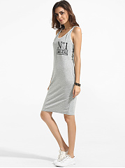 Hooded Dacron Hollow Out Letter Printed Bodycon-dress
