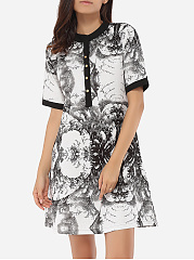Loose Fitting Crew Neck Linen Printed Shift-dress