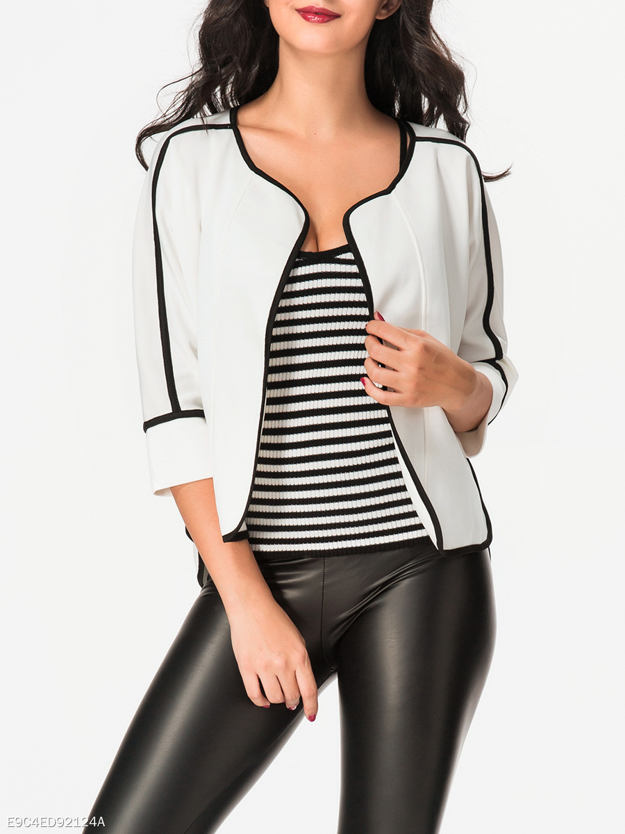 Collarless Contrast Trim Jacket