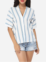 Striped Batwing Exquisite V Neck Blouse