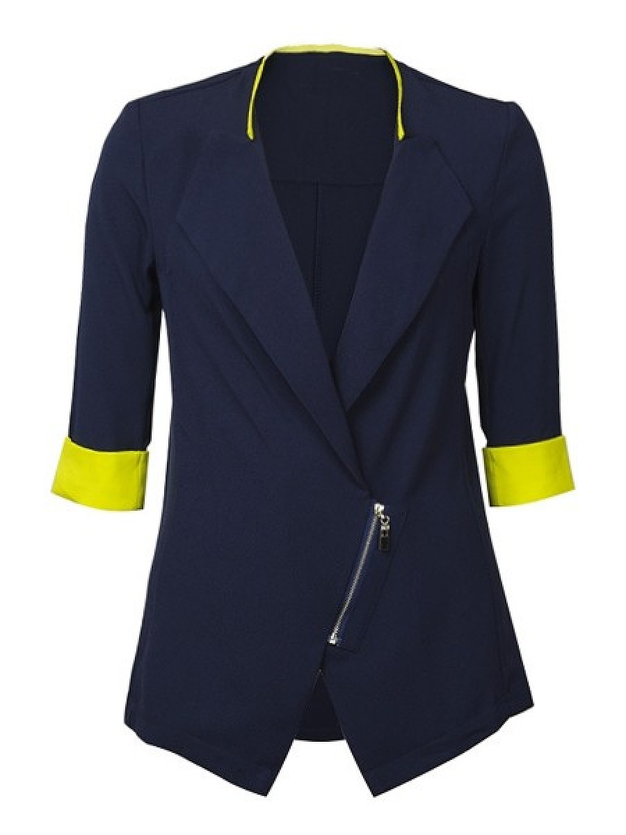 Assorted Colors Zips Charming Lapel Jackets