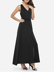 V Neck Dacron Hollow Out Plain Split Maxi-dress