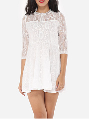 Lace Plain Captivating Band Collar Skater-dress