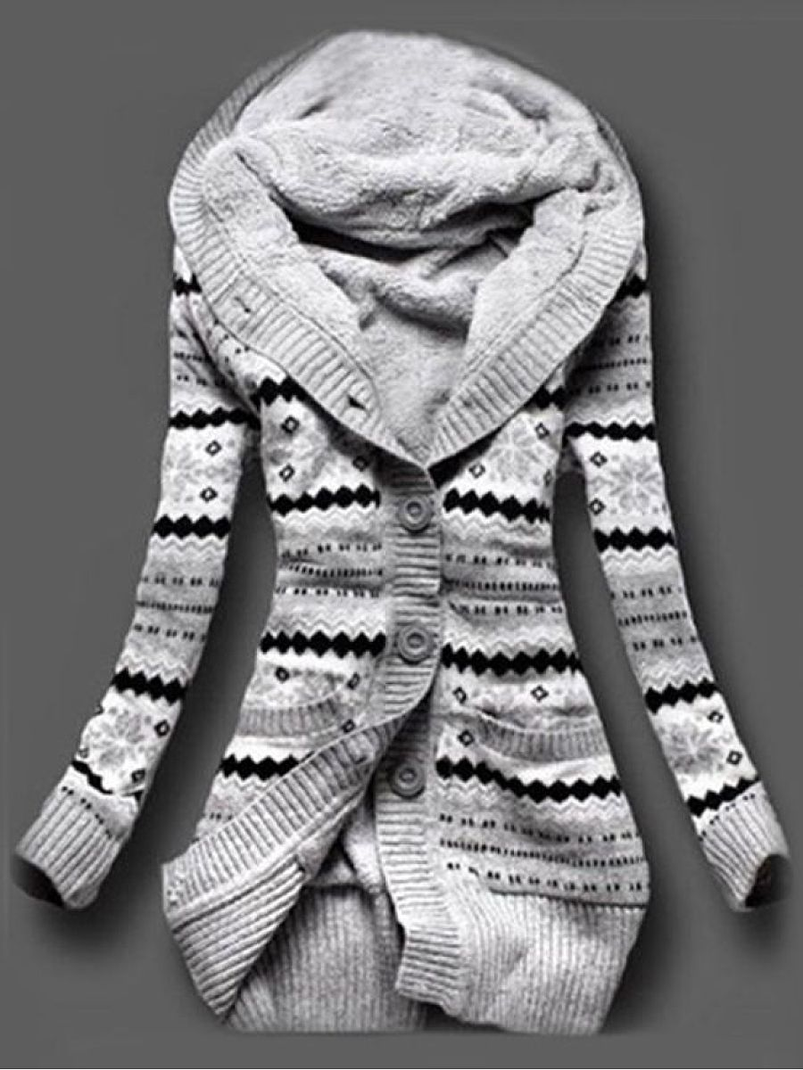 Printed Hooded Cardigan