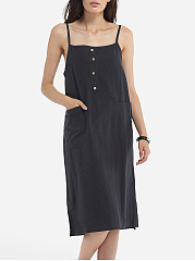Pockets Decorative Buttons Spaghetti Strap Cotton Plain Maxi-dress