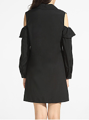 Falbala Polo Collar Dacron Hollow Out Plain Shift-dress