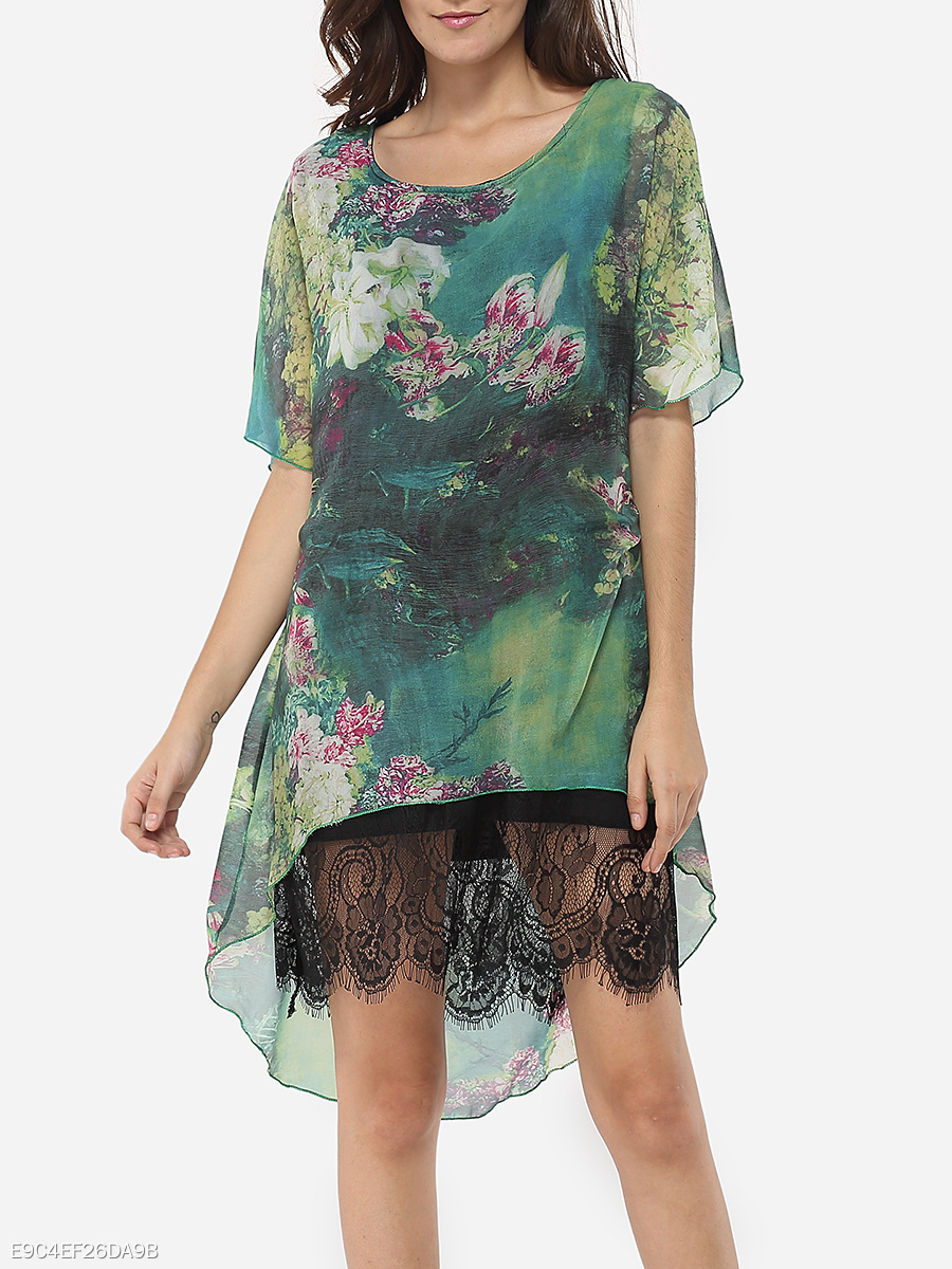 Round Neck Dacron Floral Hollow Out Lace Printed Shift-dress