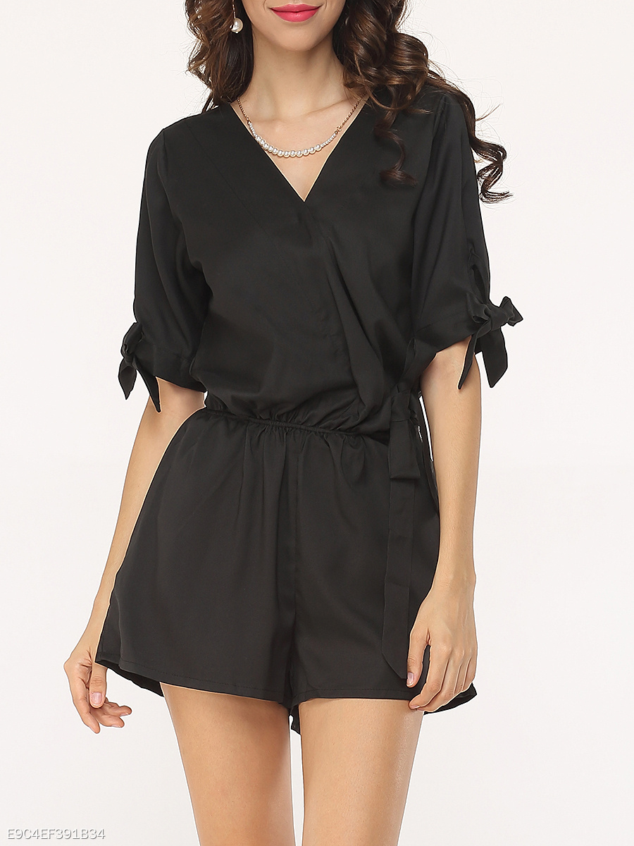 Casual Basic Plain Rompers