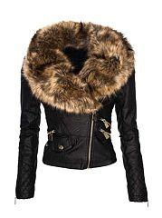 Black-Patchwork-Zips-Absorbing-Lapel-Jackets