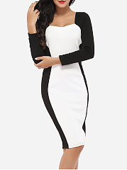 Sweet Heart Cotton Color Block Bodycon-dress